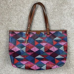 Fossil red,pink and blue geometric shoulder bag